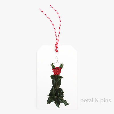 holly dress four gift tag by petal & pins