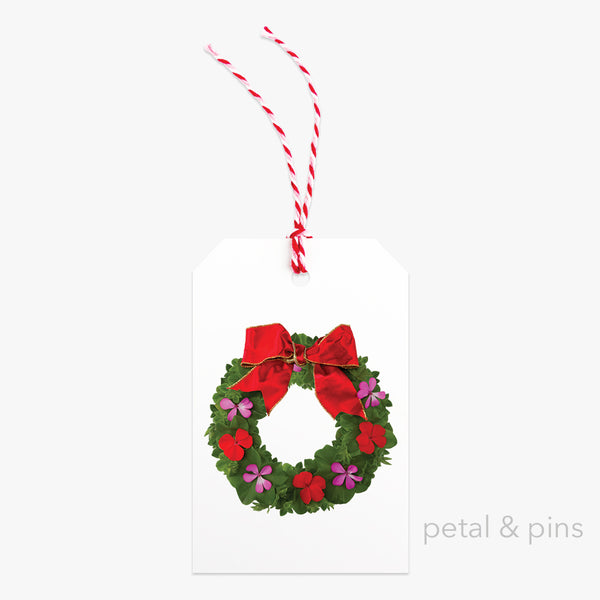 festive wreath gift tag with bakers twine by petal & pins