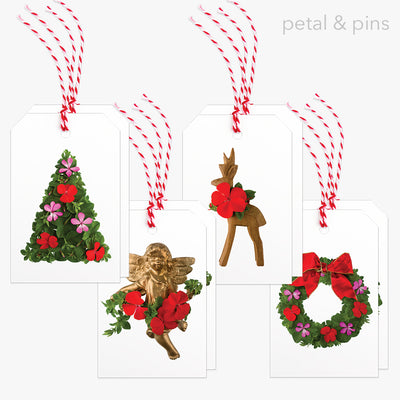 gift tags - christmas geranium pack of 8 by petal & pins