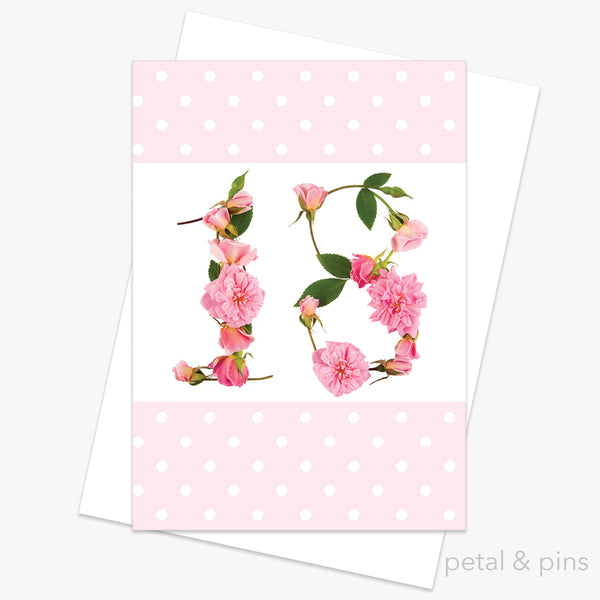 18th birthday roses card from the love letters collection by petal & pins