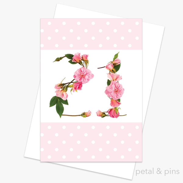 21st birthday roses card petal pins