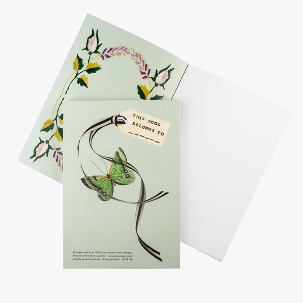 butterfly garland notebook - pistachio - back and inside cover - by petal & pins