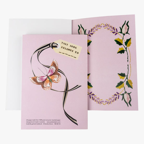 butterfly garland notebook - rosewater - back and inside cover - by petal & pins