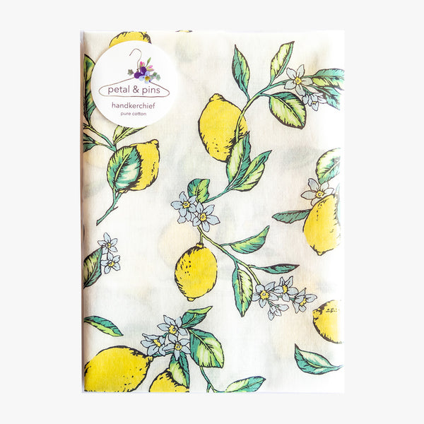 limoncello pure cotton handkerchief by petal & pins