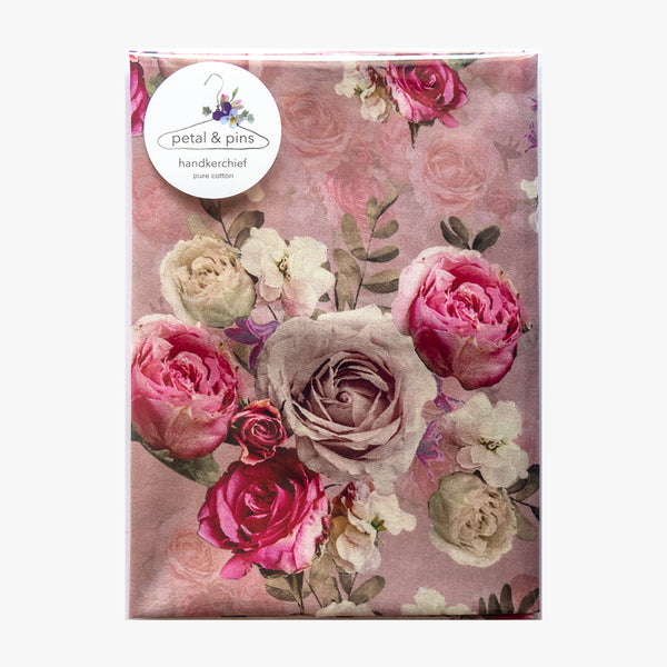 vintage rose pure cotton handkerchief by petal & pins
