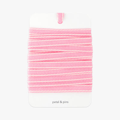 ribbon on card - stitched woven ribbon - pink