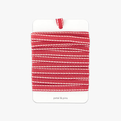 ribbon on card - stitched woven cotton - red
