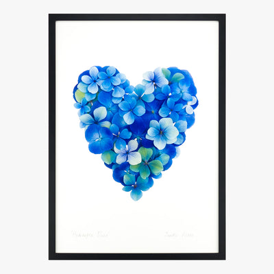 hydrangea blues heart art print by petal & pins