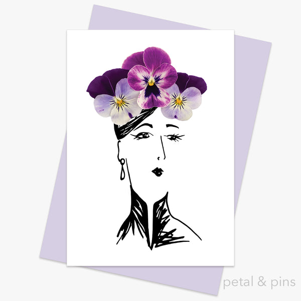 pansy hat greeting card by petal & pins