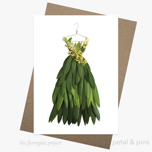olive leaf dress greeting card by petal & pins