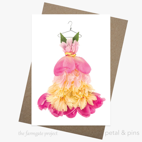 peony fiesta dress greeting card by petal & pins