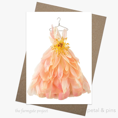 coral peony waltz dress greeting card by petal & pins