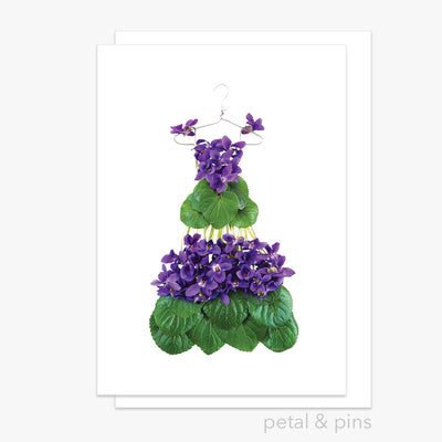 violet dress greeting card from the garden fairy's wardrobe by petal & pins