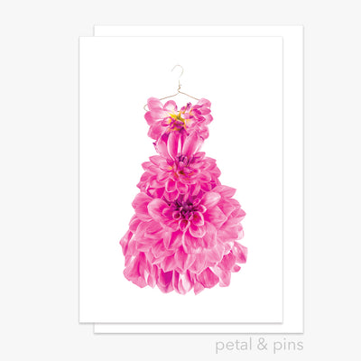dahlia dress greeting card from the garden fairy's wardrobe by petal & pins
