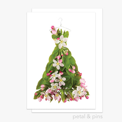 apple blossom dress greeting card from the garden fairy's wardrobe by petal & pins