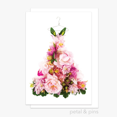 aquilegia & rose dress greeting card from the garden fairy's wardrobe by petal & pins