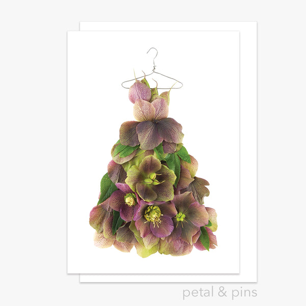 purple & chartreuse hellebore dress greeting card from the garden fairy's wardrobe by petal & pins