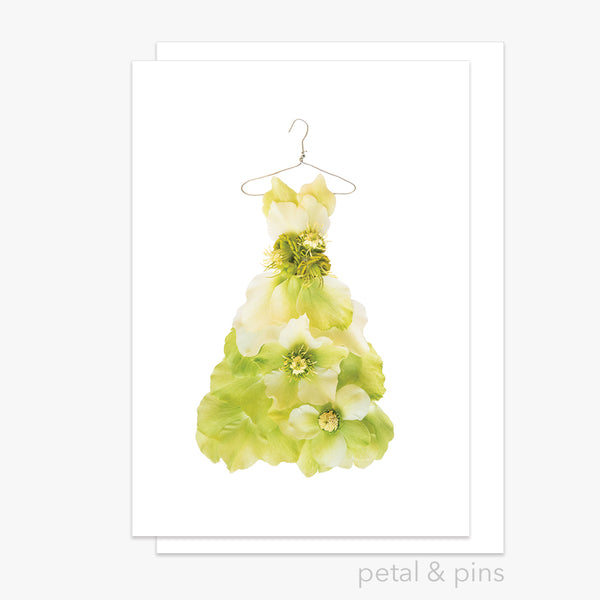 chartreuse hellebore dress greeting card from the garden fairy's wardrobe by petal & pins