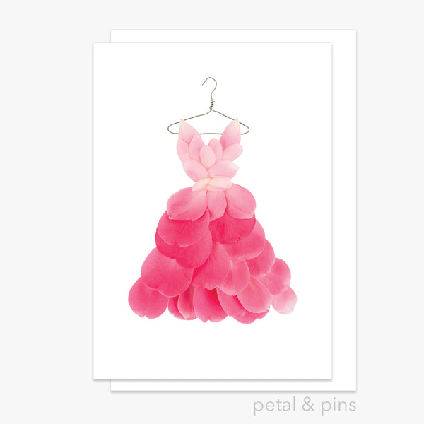 pink camellia dress greeting card
