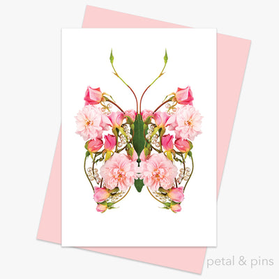 butterfly kisses greeting card from the love letters collection by petal & pins