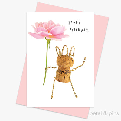 champagne girl happy birthday greeting card by petal & pins