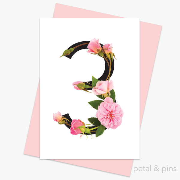 celebration roses number 3 card by petal & pins