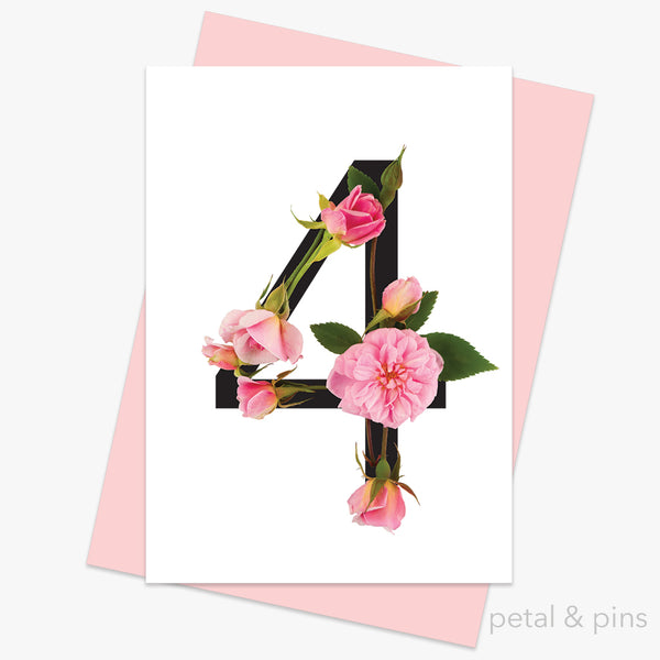celebration roses number 4 card by petal & pins