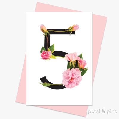 celebration roses number 5 card by petal & pins