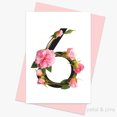 celebration roses number 6 card by petal & pins