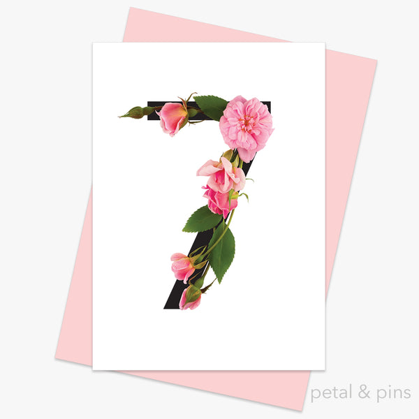 celebration roses number 7 card by petal & pins