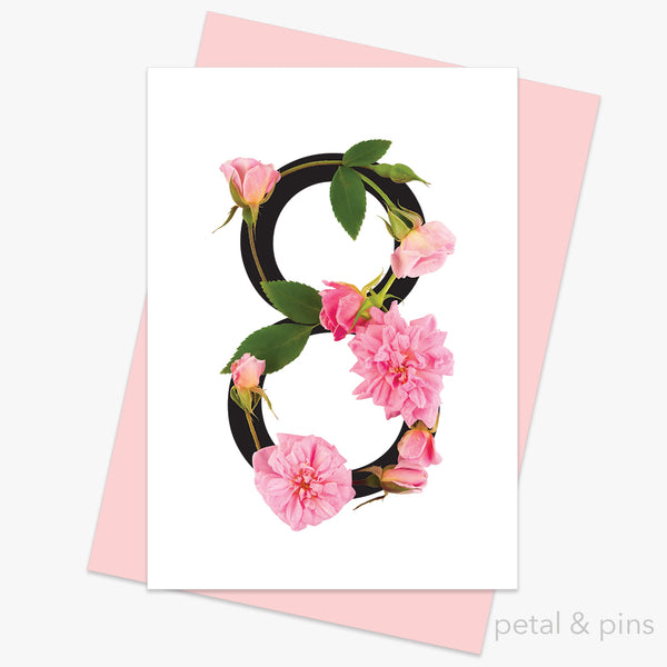celebration roses number 8 card by petal & pins
