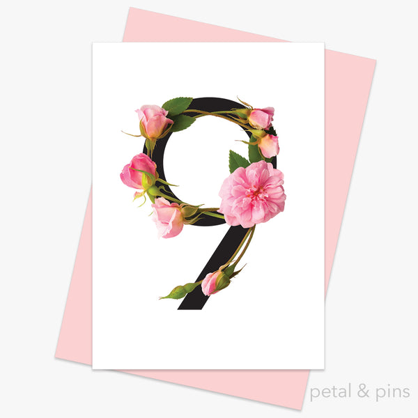 celebration roses number 9 card by petal & pins