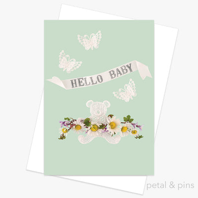 hello baby greeting card from the scrapbook collection by petal & pins