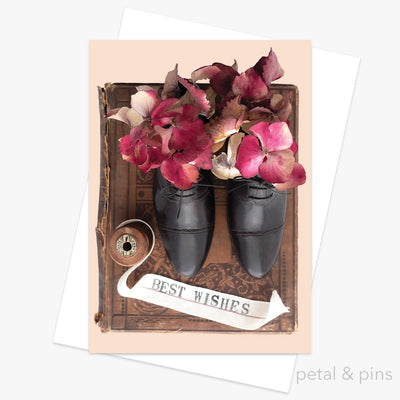 a book of best wishes greeting card by petal & pins