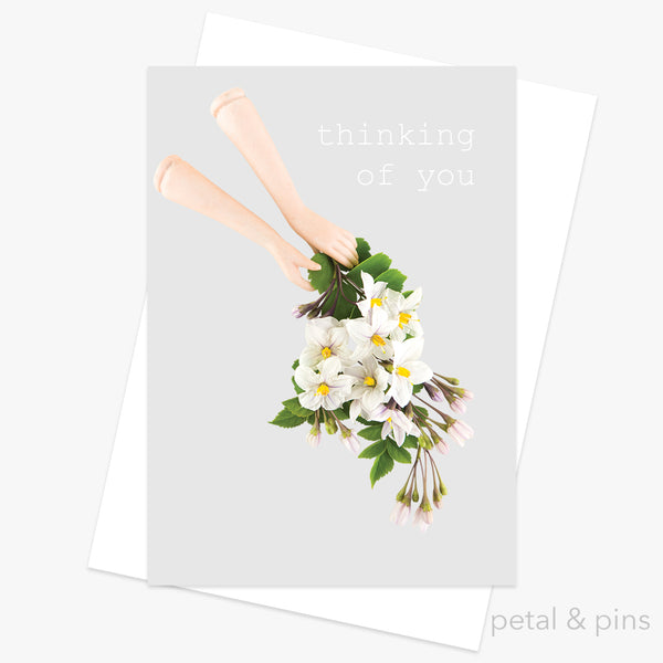 thinking of you greeting card by petal & pins