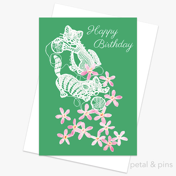 happy birthday pussycats birthday greeting card by petal & pins