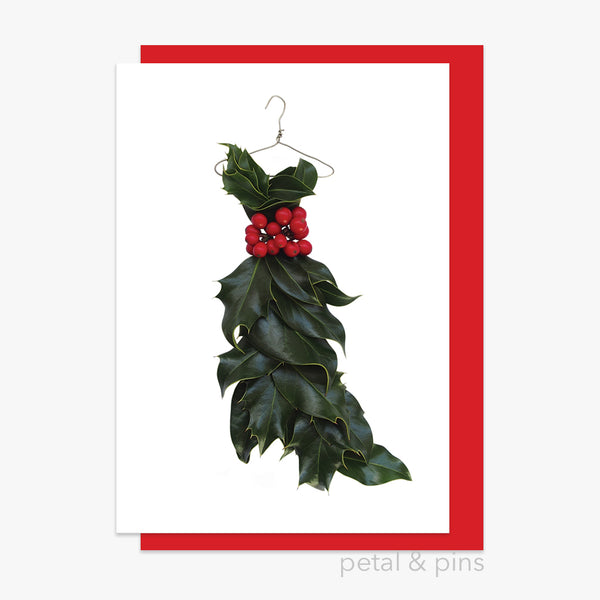 christmas holly dress style 1 card by petal & pins