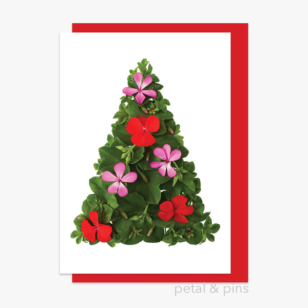christmas geranium tree card by petal & pins
