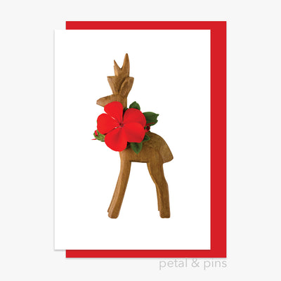 christmas geranium reindeer card by petal & pins