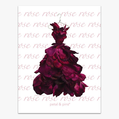 red wine rose gown tea towel by petal & pins