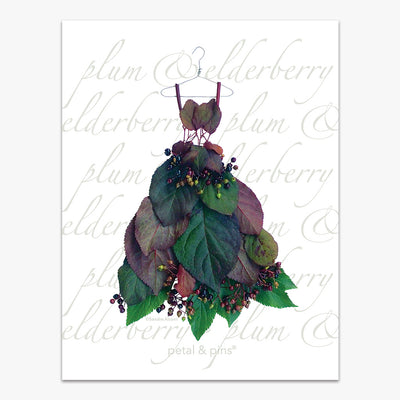 plum leaf & elderberry dress tea towel by petal & pins