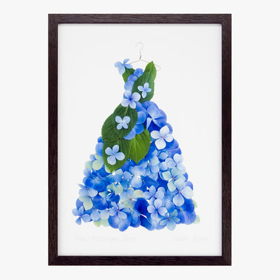blue hydrangea dress art print by petal & pins