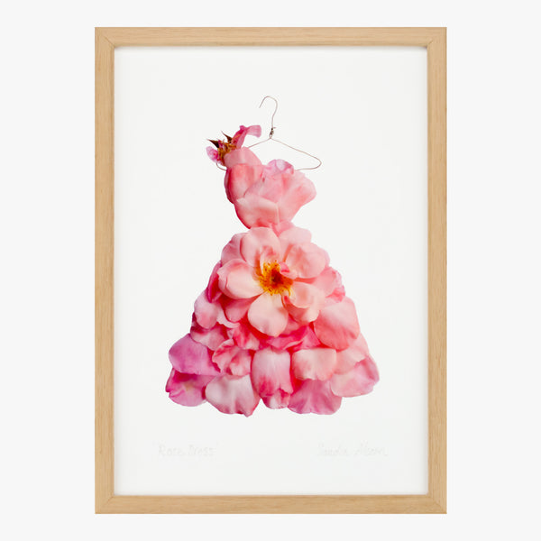 blush pink rose dress art print by petal & pins
