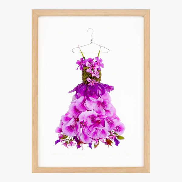 lavender and geranium dress art print by petal & pins