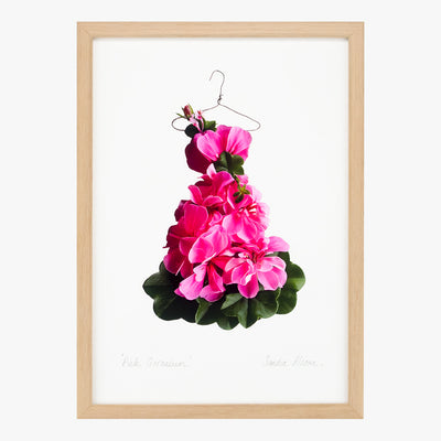 pink geranium dress art print by petal & pins