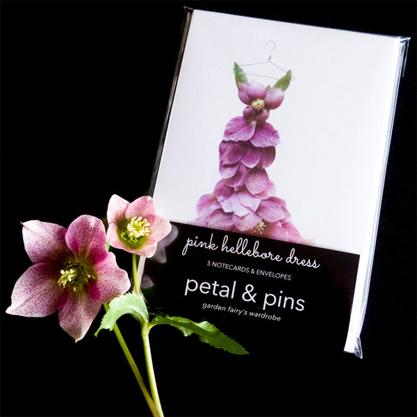 pink hellebore dress notecard set