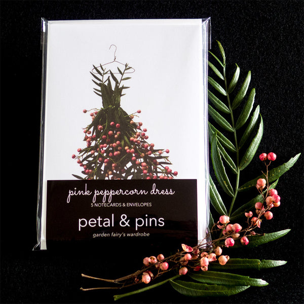 pink peppercorn dress notecard set