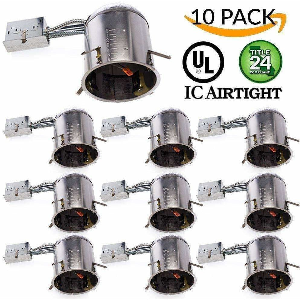 "Lighting 10 PACK - 6"" inch Remodel LED Can Air Tight IC Housing LED Recessed Lighting - AMAZOFFER"