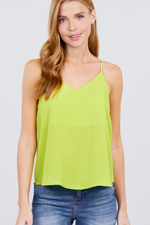 Double V-neck Cami Woven Top - AMAZOFFER