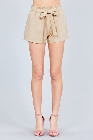 Paper Bag W/bow Tie Short Linen Pants - AMAZOFFER
